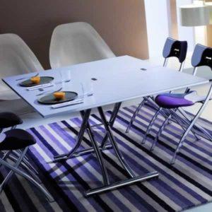 Tavolino trasformabile in tavolo da pranzo Ozzio Mondial apertura a libro